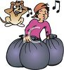 Teenage Boy Whistling While Taking Out the Trash clipart