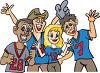 Sports fans rooting for their team clipart