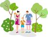 Family taking a walk in the park together clipart