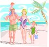 Family at the Beach on Vacation clipart