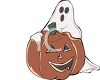 Ghost Leaning on a Jack O'Lantern clipart