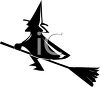 Silhouette of a Witch in a Halloween Symbol clipart
