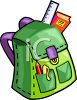 Cartoon Backpack with a Ruler in the Pocket clipart
