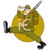 Cartoon of a Soldier Marching with His Rifle clipart