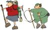 Man and Woman Hikers Tied Together with a Safety Rope clipart