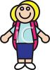 Icon of a Little Schoolgirl Wearing a Backpack clipart