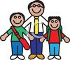 Icon of a Teacher with Two of His Students clipart