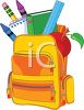 Cartoon Backpack Filled with School Supplies clipart