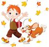 Cute Little Boy Playing in Fall Leaves with His Dog clipart
