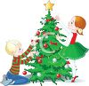 Kids Decorating a Christmas Tree clipart