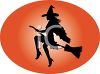 Witch Riding on Her Broomstick clipart
