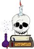 Human Skull on Book of Magic Spells - Black Magic clipart