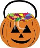 Jack O Lantern Bucket Full of Halloween Candy clipart