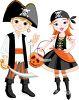 Kids in Halloween Costumes - Boy and Girl in Pirate Costumes clipart