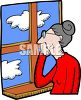 Lonely Old Woman Looking Out the Window clipart