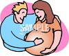 Expectant Father Holding His Wife's Belly clipart