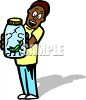 African American Boy Holding a Grasshopper in a Jar clipart