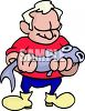 Old Fisherman Holding a Big Fish He Caught clipart