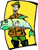 Fisherman Holding a Huge Fish He Just Caught clipart