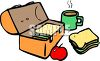 Lunch Box with food - Sandwich and Apple clipart
