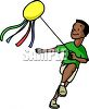 Boy Flying a Kit clipart