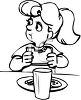 Girl Eating A Sandwich For Lunch clipart