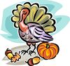 Thanksgiving Turkey with a Pumpkin and Some Acorns clipart