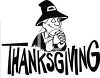 Pilgrim Man Giving Thanks on a Thanksgiving Banner clipart