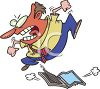 Angry Man Stomping and Jumping on His Computer clipart