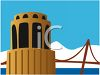 Coit Tower and the Golden Gate Bridge in San Francisco clipart