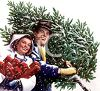 Nostalgic Christmas of a Man Carrying a Christmas Tree and a Woman with Packages clipart