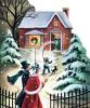 Nostalgic Christmas Scene of People Going to Friends House for Christmas clipart