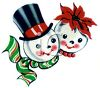 Vintage Snowman and His Wife clipart