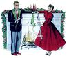 Vintage Mom and Dad Decorating The House for Christmas clipart