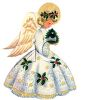 Vintage Angel with Golden Wings Holding a Tiny Christmas Tree clipart