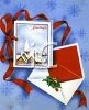 Christmas Greeting Card with a Matching Envelope on a Snowflake Background clipart
