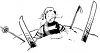 Vintage Cartoon of a Guy on Skis Crashed Into a Snowbank clipart