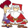 Cartoon of a Grown Woman Sitting on Santa's Lap clipart