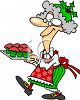 Cartoon of Mrs. Claus Carrying a Tray of Cupcakes clipart