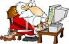 Cartoon of a Modern Santa Using a Computer to Make His List clipart