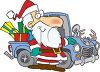 Cartoon of Redneck Santa Using a Truck to Deliver Presents clipart