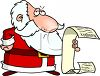 Cartoon of a Disappointed Santa Reading a Really Long Naughty List clipart