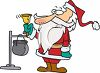 Cartoon of a Charity Santa Ringing a Bell for Donations clipart