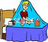 Boy Reading Under the Covers with a Flashlight clipart