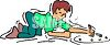 Boy Shooting Marbles clipart