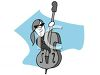 Man with a Ponytail Playing a Stand Up Bass clipart