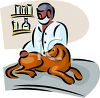 African American Veterinarian with a Canine Patient clipart