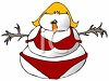 Lady Snowman Wearing a Bikini Bathing Suit clipart