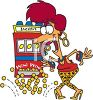 Cartoon of an Excited Woman Winning a Slot Machine Jackpot clipart