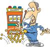 Cartoon of a Surprised Man Winning a Slot Machine Jackpot clipart